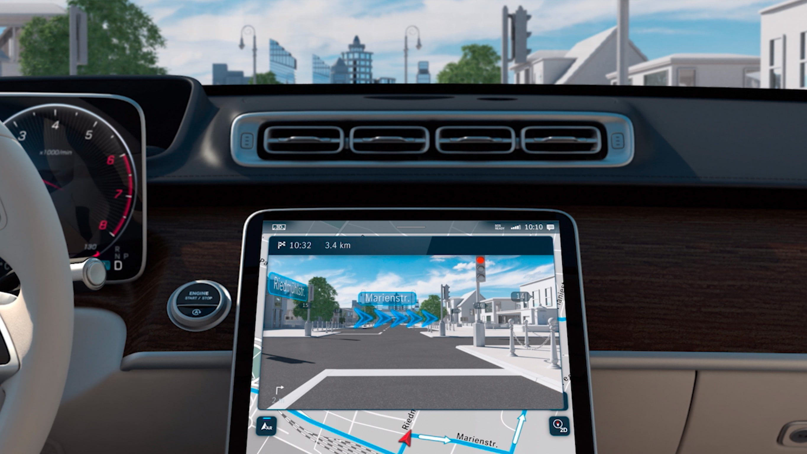 The video shows the functions of the MBUX Augmented Reality Navigation.