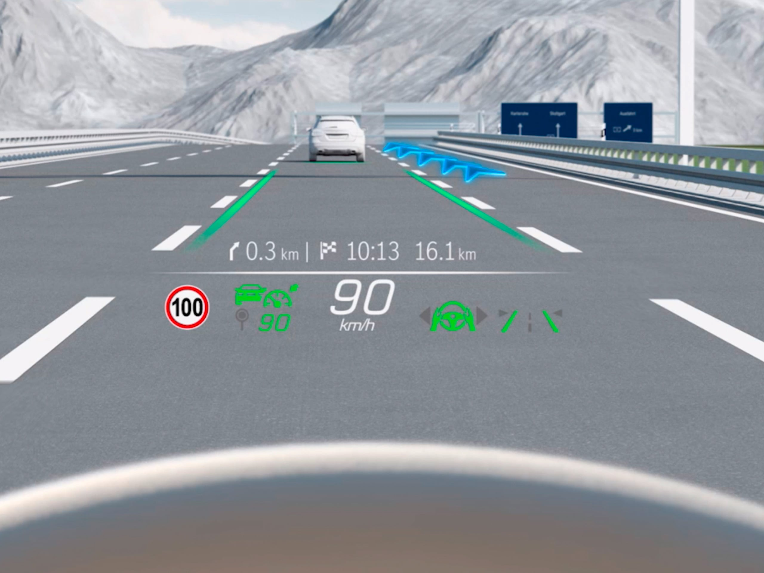 The video shows how the head-up display in the Mercedes-Benz C-Class Saloon works.